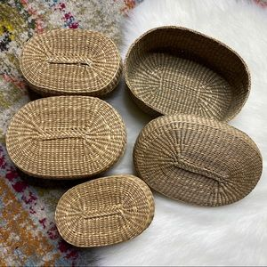 Vintage Nested Baskets with Lids Bins set of 4